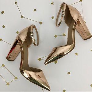 ASOS • Rose Gold Metallic Penalty Pointed Heels